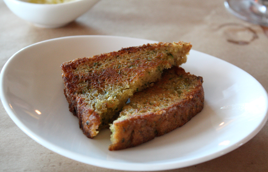 And the even more popular warm, griddled, savory zucchini bread.