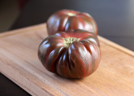 Heirloom tomatoes star in a special dinner at Restaurant James Randall. (Photo by Carolyn Jung)