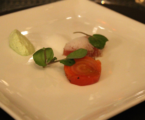 An amuse of albacore tuna.