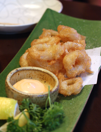 Crisp, tender calamari rings with a dipping sauce made with tobiko.
