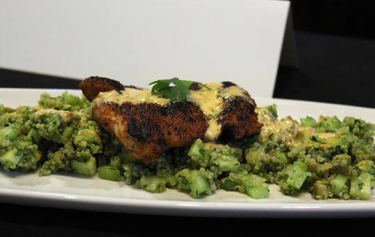 Spice Rubbed Chicken Thighs with Chipotle Bearnaise and Avocado Lime Quinoa Salad