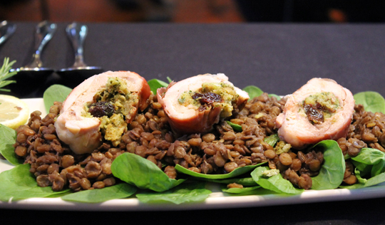 Cherry and Goat Cheese Stuffed Chicken with Merlot Scented Lentils