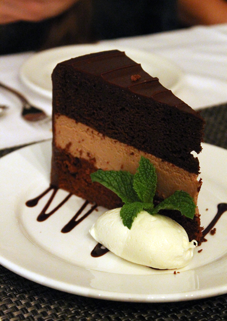 &quot;XXX Chocolate Cake'' -- one of the perks of dining after closing at a bakery.