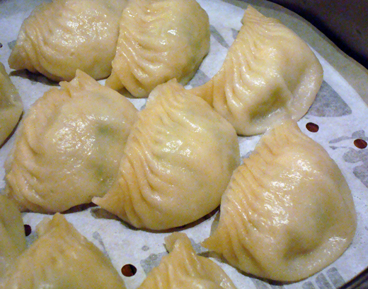 Steamed dumplings filled with fish.