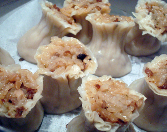 Anemone-like dumplings filled with Chinese sticky rice.