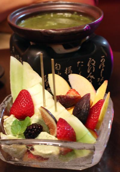 Fondue for dessert.