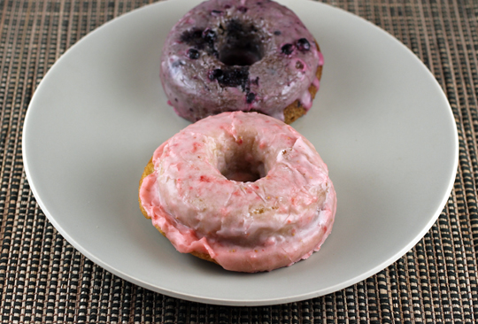 Strawberry and Blueberry Earl Grey donuts that are baked, not fried.