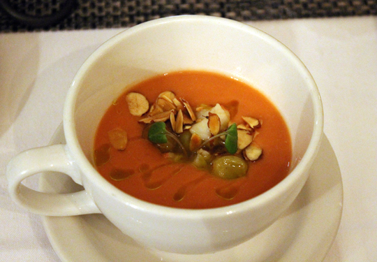 A velvety bodied gazpacho with lobster.