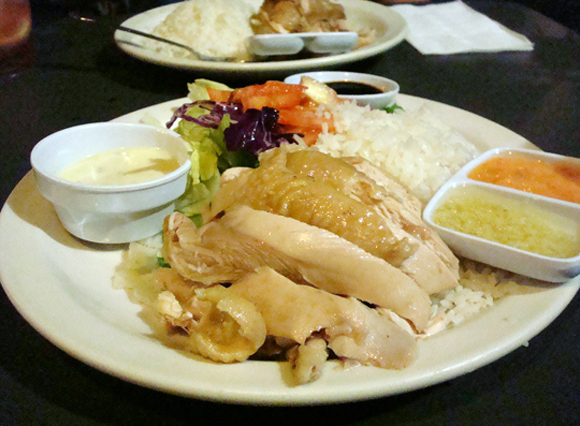 Hainan chicken -- comfort on a plate at Savoy Kitchen.
