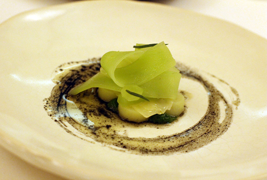 Yes, this is lettuce. And it sits on a vinaigrette made with burnt hay.