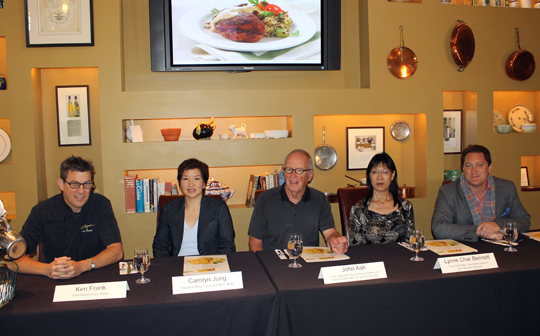The judging panel (L to R): Chef Ken Frank, the Food Gal, Chef John Ash, Lynn Char Bennett, and Liam Mayclem.
