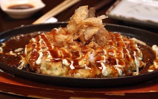 Total comfort food -- seafood okonomiyaki.