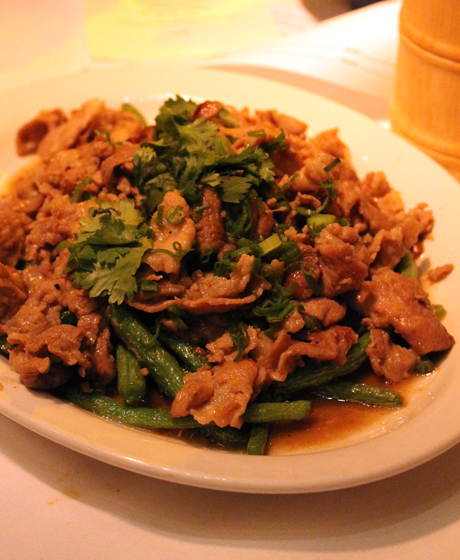 Pork and green beans in a very Chinese-like dish.