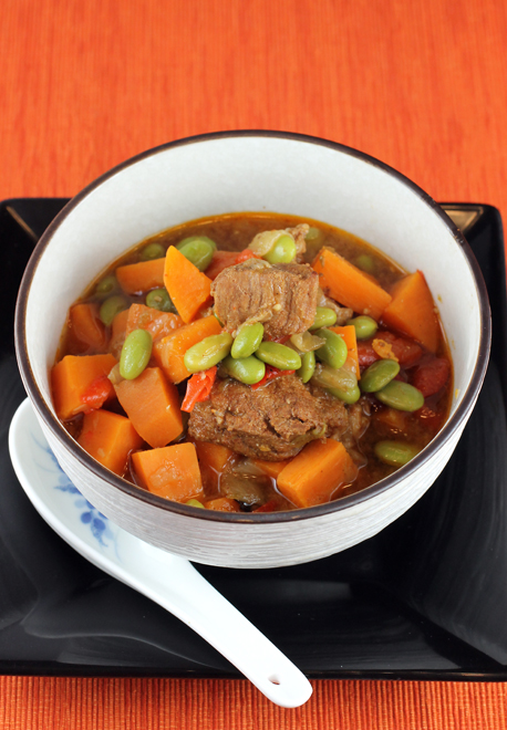 Dig into a bowl of savory pork stew with miso, sweet potatoes and edamame.