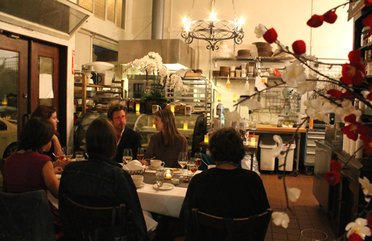 The 8-person table in the private dining room (in the bakery) at Baker &amp; Banker.