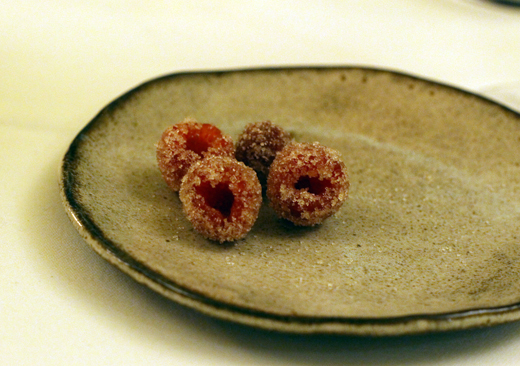 Candied fresh raspberries.
