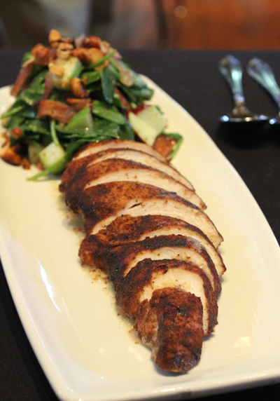 Tea Rubbed Chicken with Apple Spinach Salad and Spicy Nuts