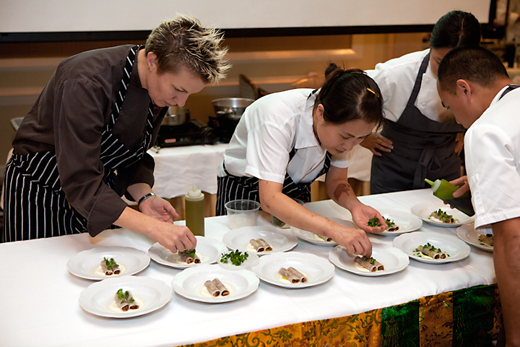 Elizabeth Falkner and crew plate dishes at Taste &amp; Tribute last year. (Photo courtesy of the Tibetan Aid Project)