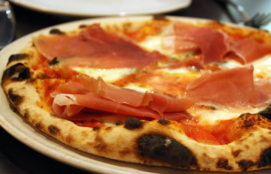 The Margherita with added prosciutto di Parma.