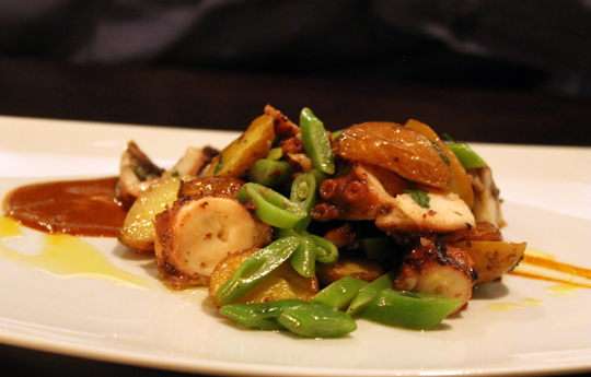Braised octopus with fingerling potatoes.