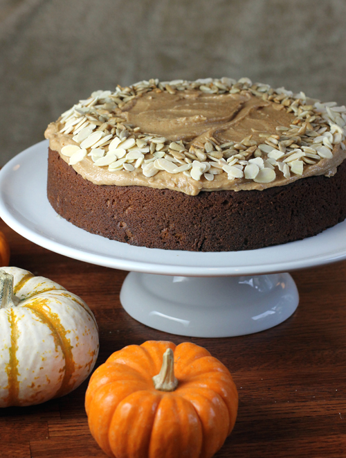 Moist pumpkin cake slathered with thick almond butter frosting.