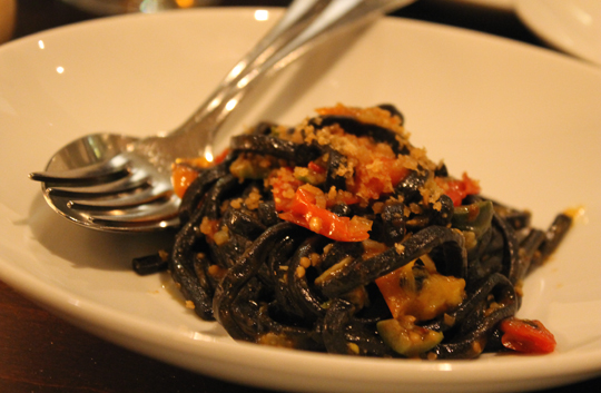 Fettuccini made with squid ink.