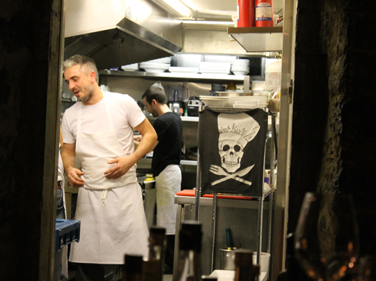 A peek inside the kitchen at Au Cinquieme Peche.
