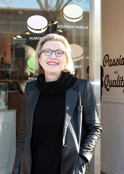 Chantal Guillon outside her Palo Alto shop.