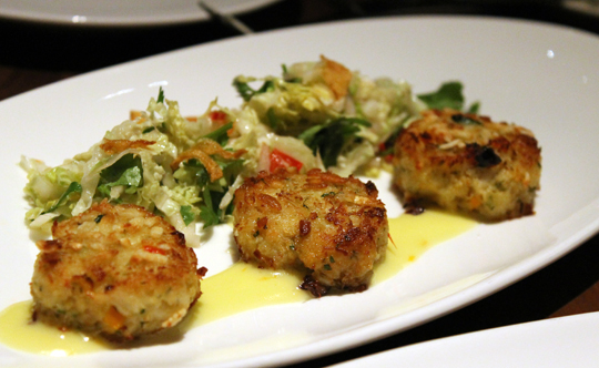 Crab cakes filled to capacity with Dungeness meat.