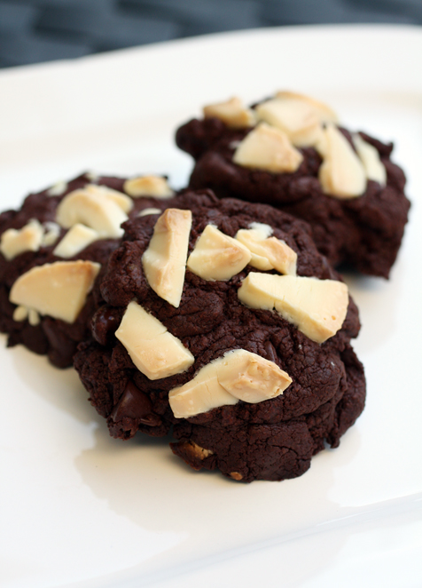 Dark chocolate, white chocolate and ginger make up the trifecta of flavors in this fudgy cookie.