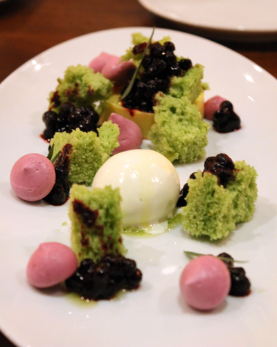 A dessert landscape of kaffir lime, tarragon and huckleberries.