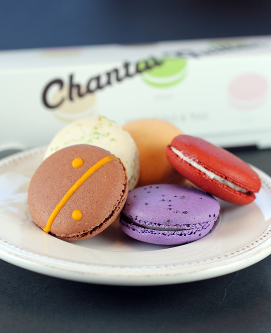 Chocolate Yuzu, Lavender Cassis and Red Velvet macarons from Chantal Guillon.
