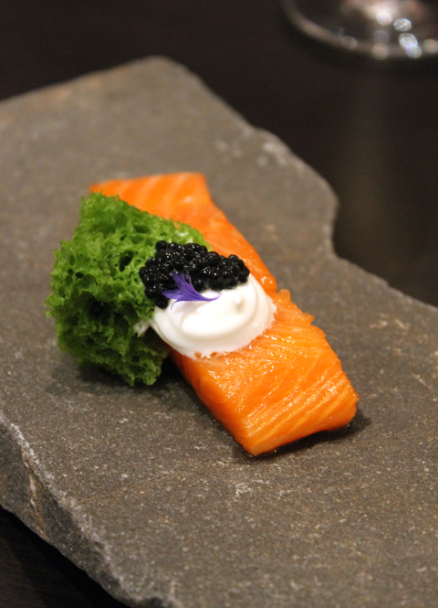 "A magnificent steelhead trout with caviar, yogurt and dill ""sponge'' cake at the Museum of Contemporary Art in Montreal."