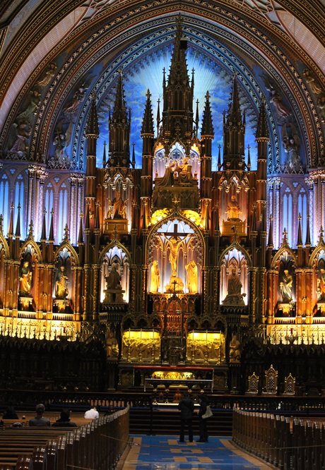 Inside the magnificent Montreal Notre-Dame Basilica.