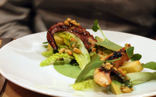 Grilled octopus with Little Gems.