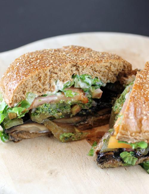 A taste of Veggie Grill's Papa's Portobella Burger.