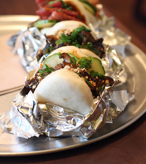 The steamed shiitake buns at Spice Kit in Palo Alto.