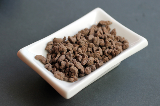 Roasty-toasty cocoa nibs coated in Dandelion chocolate.