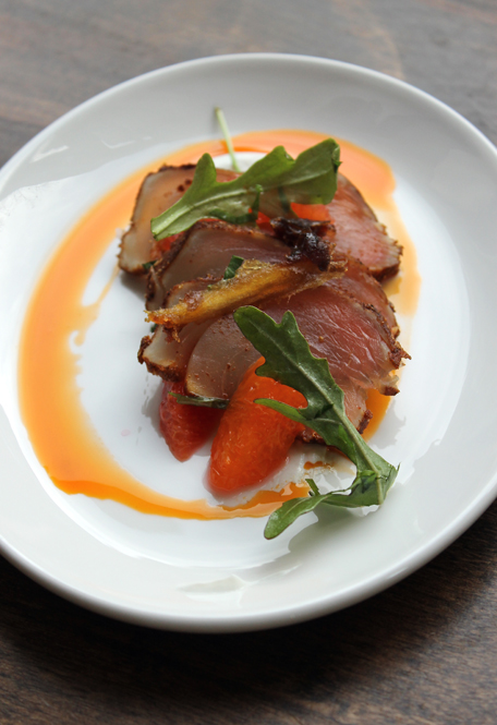 Seared albacore with yogurt, dates and blood orange by Chef David Lentz of The Hungry Cat.