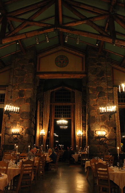 The grand dining room at the Ahwahnee in Yosemite National Park.