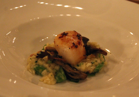 Goin's risotto carbonara with seared diver scallop.