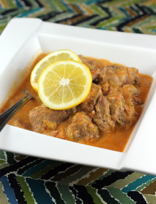 A velvety sauce enriched with egg and lemon juice makes this pork stew irresistible.