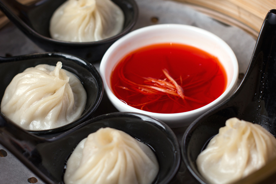 Soup dumplings at M.Y. China. (Photo by Blair Heagerty)