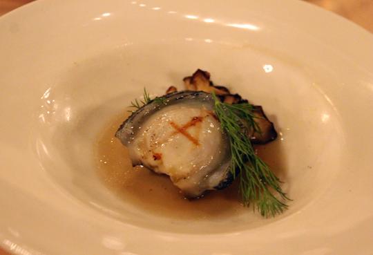 McNamara's grilled abalone in a heavenly mushroom broth.