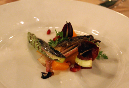 McNamara's chicory salad with carrot and pomegranate seeds.