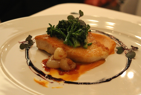 Hawaiian sea bass with broccolini.