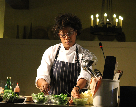 Chef Nyesha Arrington prepping for her cooking demo.