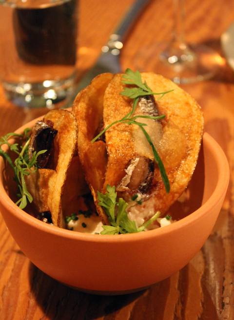 The unforgettable sardine chips at Rich Table in San Francisco.