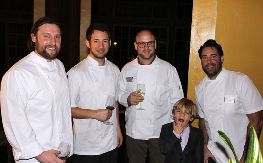 (L to R): Matt McNamara of Sons &amp; Daughters; Duncan Holmes, chef de cuisine of Sons &amp; Daughters; Daniel Holzman of The Meatball Shop; David Lentz of The Hungry Cat; and Lentz's son.