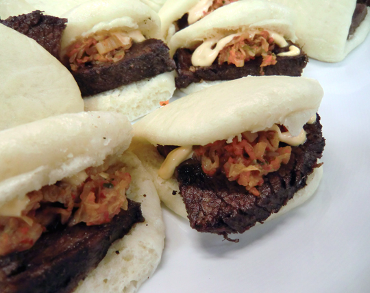 Steamed buns with pork sausage. (Photo courtesy of Solbar Lounge)